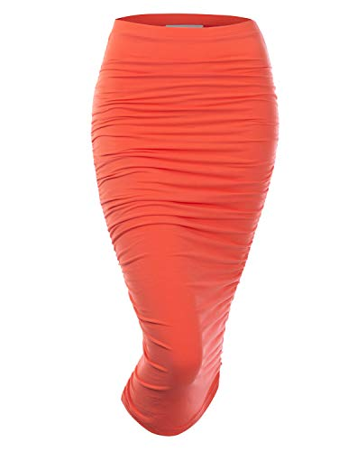 Doublju Womens Slim Fit Ruched Long Pencil Skirt with Plus Size Coral Large