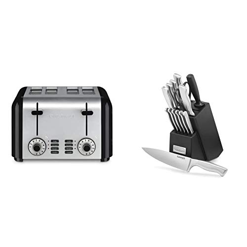 Cuisinart CPT-340 Compact Stainless 4-Slice Toaster, Brushed Stainless & C77SS-15PK 15-Piece Stainless Steel Hollow Handle Block Set
