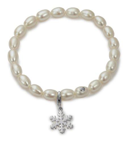 Adriana Romantica - Pulsera de plata de ley con perla (18 cm)