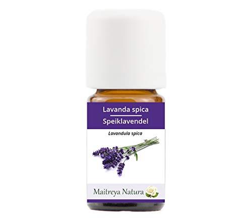 Maitreya Natura Ätherisches Öl biologisch SPEIKLAVENDEL, 100% naturrein, 5ml - Aromatherapie, Diffusor, Massage, Kosmetik - kontrollierte und zertifizierte Qualität, cruelty free, vegan