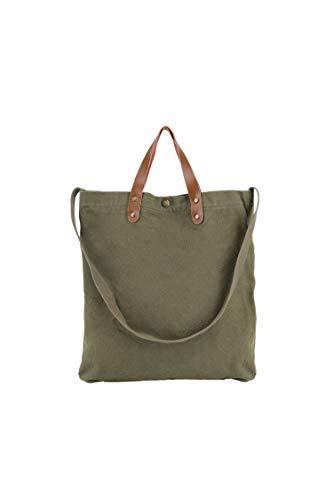 Ulisty Damen Grosse Kapazität Bio Baumwolle und Leinen Schultertasche Mode Handtasche Beiläufig Umhängetasche Grün