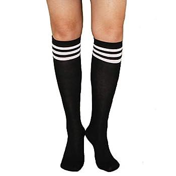 Womens Funny Colorful Striped Knee High Girls Fun Cute Rainbow Soccer Costume Novelty Tube Socks,Black White