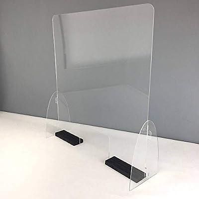 Proteja a su personal con esta pantalla protectora, ideal para mostradores o puestos de trabajo evitando el contacto directo con el cliente. La hemos fabricado de la forma mas discreta y sencilla posible. Metacrilato totalmente transparente con canto...