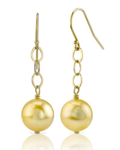 Pendientes de perlas doradas del Mar del Sur, oro de 14 quilates