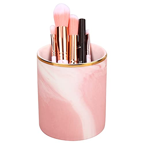 Portapenne da Scrivania in Ceramica,Make Up in Marmo Organizzatore Porta Pennelli in Ceramica Nordica per Lufficio Famiglia Toeletta (Rosa)