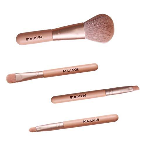 perfeclan 4pcs Pinceaux de Maquillage Professionnel Kit Pinceau de Fond de Teint + Pinceau à Sourcils + Pinceau à Lèvres