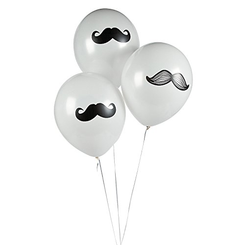 Fun Express Mustache Latex Balloons Party Favors - 12 Pieces