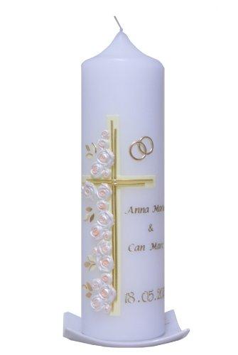 Hochzeitskerze Kreuz mit Rosen creme, wird NUR auf Kundenwunsch für Sie gefertigt. Bei uns bekommen sie keine Massenware. Jede Kerze für sich, ist ein Unikat.