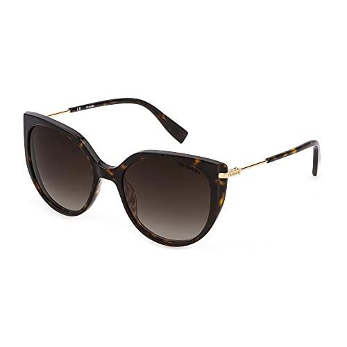 Trussardi Gafas de sol STR478 0722 55 – 19 – 135 para mujer, color marrón oscuro brillante