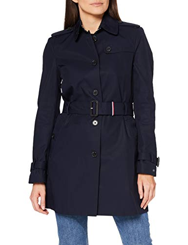 Tommy Hilfiger Damen Trenchcoat Mantel HERITAGE SINGLE BREASTED TRENCH-WW0WW24966, Blau (Midnight 403), M (Herstellergröße: M)