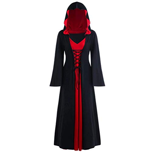 INLLADDY Kleid Damen Gothic Kapuzenkleid Retro Umhang Robe Halloween Karneval Party Cosplay KostüM Deko Schwarz XXL