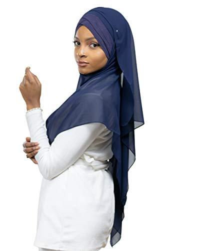 Lamis Hijab - Pañuelo cruzado con gorro integrado para mujer musulmana, velada, chal islámico, velo enfilable, azul marino, Talla única