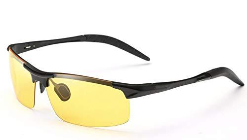 偏光スポーツサングラス 昼夜兼用 UV400 紫外線カット ドライブ/野球/自転車/夜釣り/ランニング/ゴルフ/運転 男女兼用 (ブラック/イエロー)