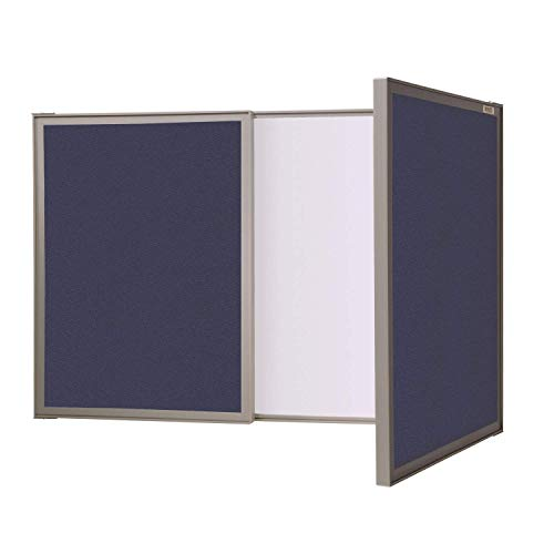 Ghent 41301 Visuall PC - Blue Fabric Bulletin Board Outside, Non-Magnetic Whiteboard Inside (41301)