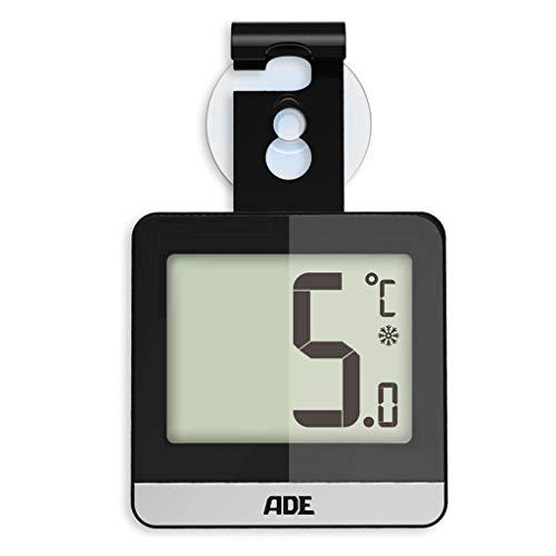ADE Digitales Kühlschrankthermometer WS 1832 (Thermometer für Kühlschrank oder Gefrierschrank mit Magnet, Saugnapf und Haken) schwarz