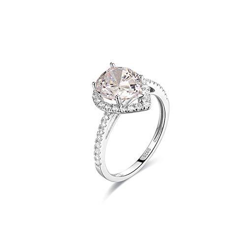 Adokiss Anillo de oro blanco de 14 quilates, con gotas de moissanita, alianzas de matrimonio, anillos de compromiso, anillos de compromiso, oro blanco, talla 48 (15,3), regalo de Navidad