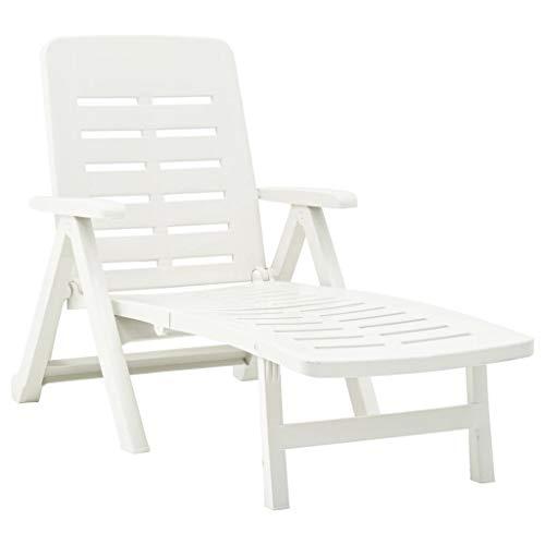 vidaXL Klappliege Witterungsbeständig Klappbar Sonnenliege Gartenliege Relaxliege Liege Strandliege Saunaliege Gartenmöbel Kunststoff Weiß