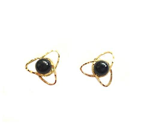 Pendientes de oro amarillo de 18 kt 750/1000 con piedra ónice negra para mujer