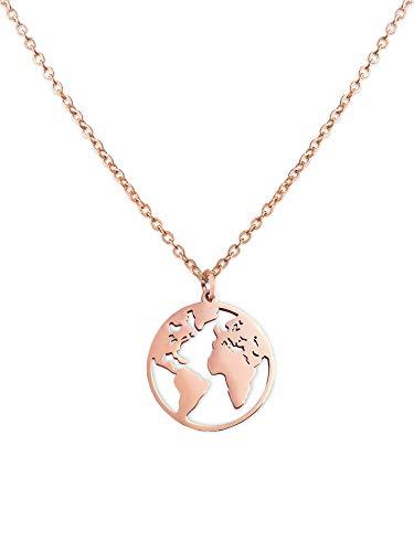 LUAMAYA Damen Boho Halskette | Verschiedene Edelstahl Ketten in Gold, Silber und Roségold | Globus, Coins, Plättchen, Layer, Weltkugel, Coins (Anam Roségold)
