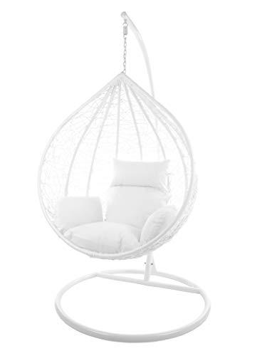 Kideo Komplettset: großer Hängesessel mit Gestell & Kissen, Indoor & Outdoor, Poly-Rattan (Korb & Gestell: weiß, Kissen: weiß Nest (1000 Snow))