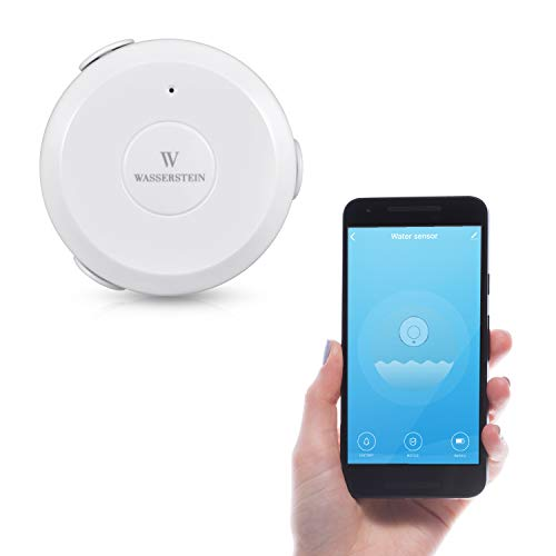 AC Powered Smart Wi-Fi Water Sensor with 6ft/1.8m Cable, Flood and Leak Detector – Alarm and App Notification Alerts, No Expensive Hub Required, Simple Plug & Play by Wasserstein (1 Pack)