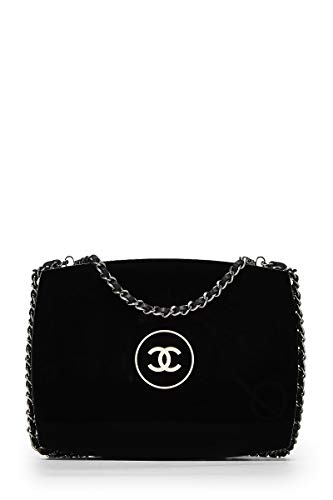 CHANEL Black Acrylic Logo Minaudiere (Renewed)
