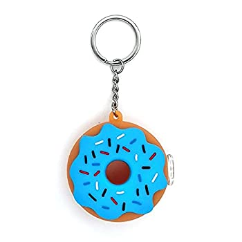 Cute Silicone Donuts Straw Unbreakable with Keychain  Blue