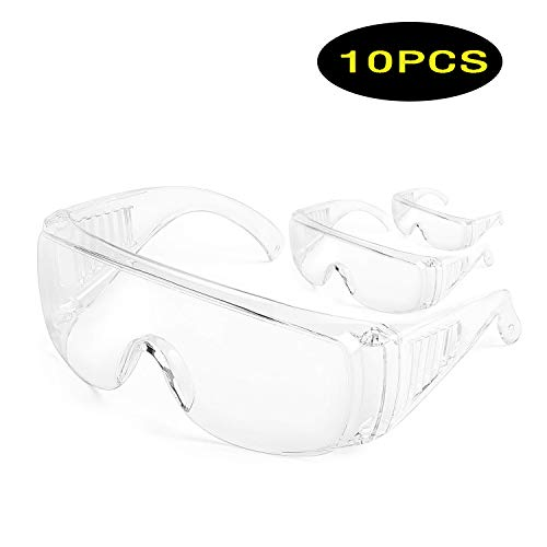 Safety Over-Glasses Anti-Fog Over-Specs Workplace Goggles for Construction, Laboratory, Chemistry, Personal or Professional Use Virus Protection Glasses Personal Defense Equipment 10PCS