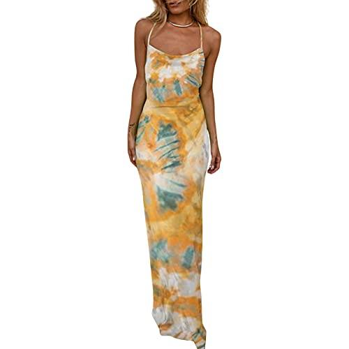 ZhaZhaMeng Vestido maxi bodycon sexy para mujer, vestido de fiesta con cuello redondo, correa de espagueti, vestido de cóctel de satén, amarillo, L