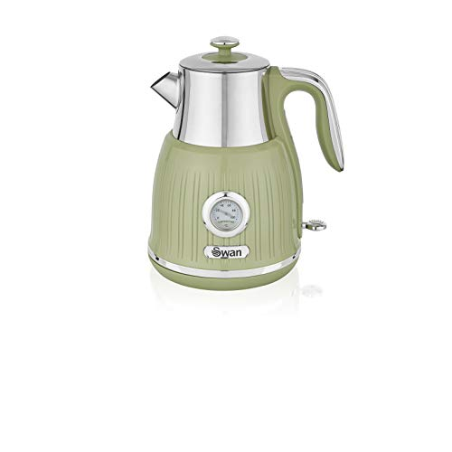 Swan SK31040GN Retro Kettle with Temperature Dial, 360 Degree Rotational Base, 3000 W, 1.5 liters, Green