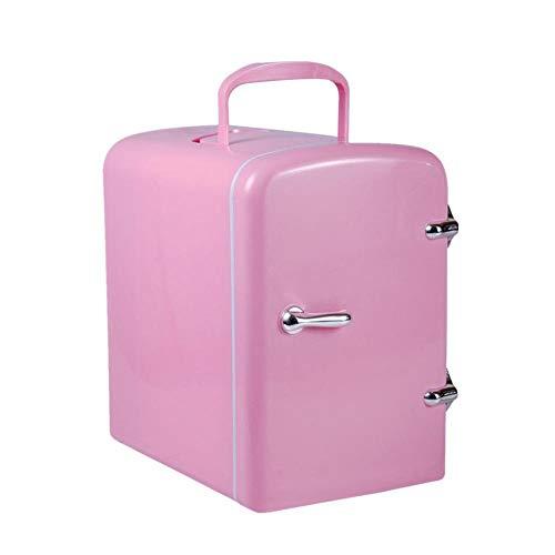 FIONAT Refrigerador de coche de 4L con calefacción por congelación DC12V / 100-240V 50 / 60H compresor de nevera para picnic en el hogar del coche 19 * 26,8 * 29 cm-rosa