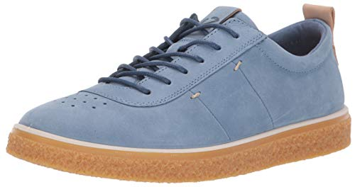ECCO Women's Crepetray Tie Oxford Flat, Retro Blue, 6-6.5