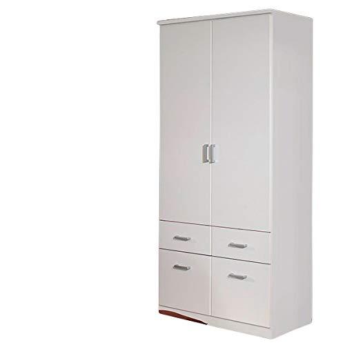 Kleiderschrank Dilan 2 Türen B 91 cm weiß Kinderzimmer Jugendzimmer Schlafzimmer Drehtürenschrank Wäscheschrank