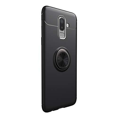 Compatible con Samsung Galaxy J6 2018, carcasa con anillo de silicona TPU y soporte de anillo con soporte magnético Auto Mount funda original para Galaxy J6 2018 Negro Talla única