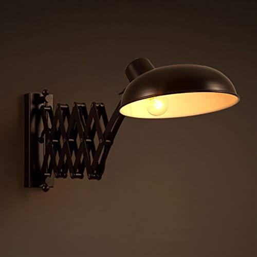 XUMINGBD Vintage binnenwandlamp zwart metaal wandlamp flexibele leeslamp slaapkamer bedlamp, links/rechts zwenken, uittrekbare schaarlamp E27