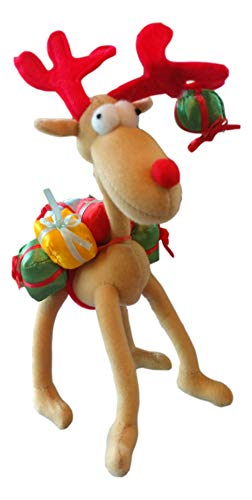 Christmas Moose Plush Holiday Decoration, Gift Giving Pet, Adjustable Legs and Antlers,10 Inches Tall (Tan)