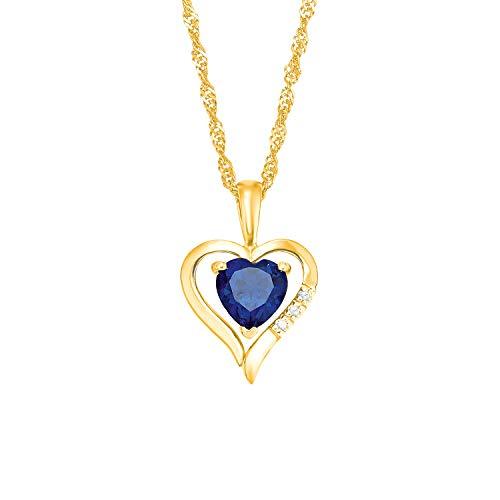 amor Kette mit Anhänger für Damen aus Gold 375/9 ct, Herz, Zirkonia blau