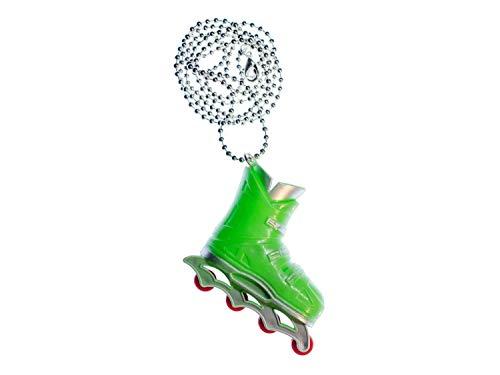Miniblings Rollerskates Rollschuhe Inlineskates Kette Halskette Skates 80cm grün - Handmade Modeschmuck - Kugelkette versilbert
