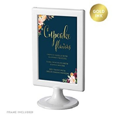Andaz Press Framed Personalized Wedding Party Signs, Navy Blue Burgundy Coral Florals Flowers with Metallic Gold Ink, 4x6-inch, Cupcake Flavors Sign, Double-Sided, 1-Pack, Custom Flavors