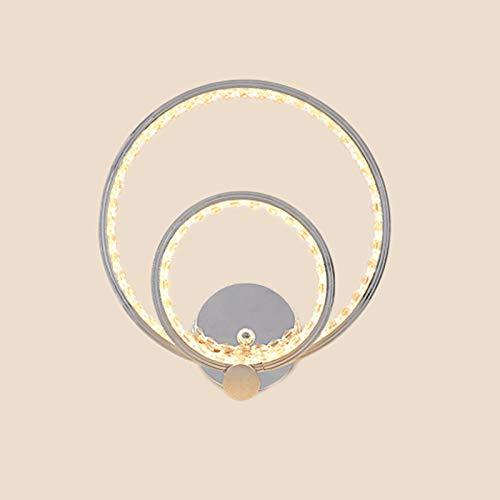 Lámpara Pared Interior 24 W, Aplique LED Pared Cristal 2 Anillos de Metal, Iluminación Moderna Para Dormitorio, Sala de Estar, Comedor, Pasillo, Estudio, Oficina, Sala de Exposiciones 3000k