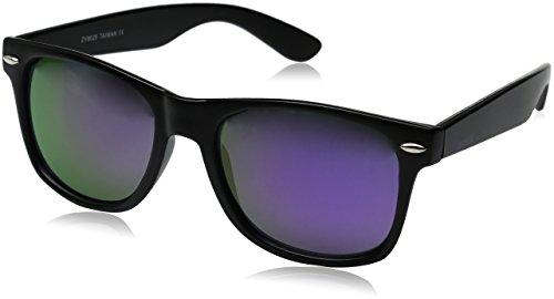 zeroUV - Retro 80's Classic Colored Mirror Lens Square Horn Rimmed Sunglasses for Men Women (Matte/Purple)
