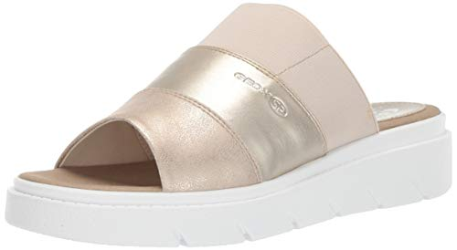 Geox Damen Slide Tamas 2, Pantolette, Sandale, braun/Gold, 36 EU