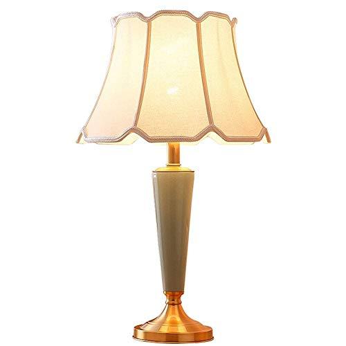 LJ Lamp,Desk Lamp Table Lamp Middle Column Ceramic Dimmer Switch Hotel Hall Study Linen Textile E27 Lamp Holder Modern European Table Lamp Reading Lamp