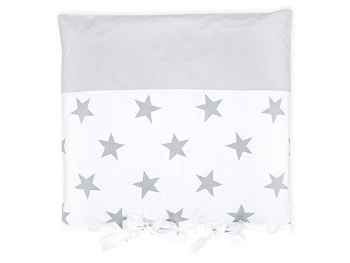 Kraft Kids Housse pour Table à Langer Coussin Grande étoiles sur blanc/gris Gris Uni