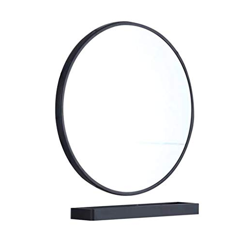Vanity Mirrors badkamerspiegel rond aan de muur met opbergruimte voor cosmeticaspiegel en spiegel zwart 23,6