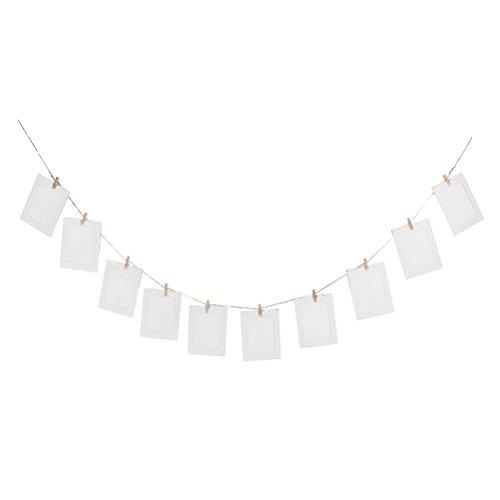 Hanging Album Clip Kraft Paper Photo Frame Strings Rope Clips Sets for Wedding Decoration Garland (White)10pcs DIY 6inch