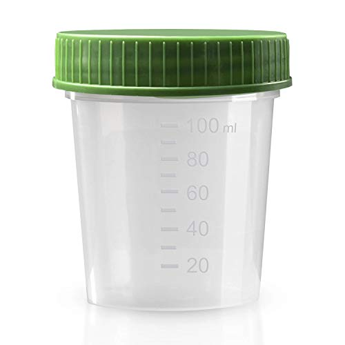 Urinbecher Premium Grün 50 Stück   125 ml Fassungsvermögen bis 100 ml graduiert   auslaufsicherer und gefriertauglicher Urinprobenbecher mit Schraubdeckel   mattiertes Schriftfeld auf dem Becher