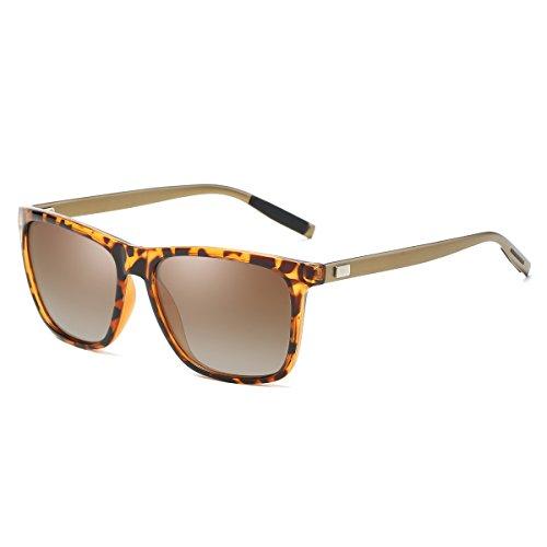 Rocf Rossini Gafas de Sol Polarizadas para Hombre y Mujer Clásicas Retro Aleación de Aluminio y Magnesio Vintage Antirreflectantes Protección UV400 Unisex Color Leopardo L