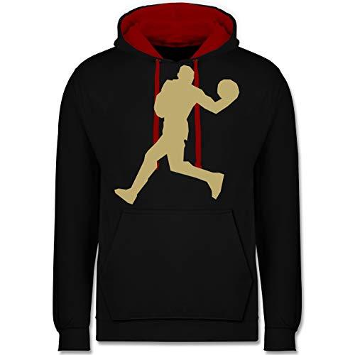 Shirtracer Basketball - Basketballer Gold - 5XL - Schwarz/Rot - JH003 - Hoodie zweifarbig und Kapuzenpullover für Herren und Damen