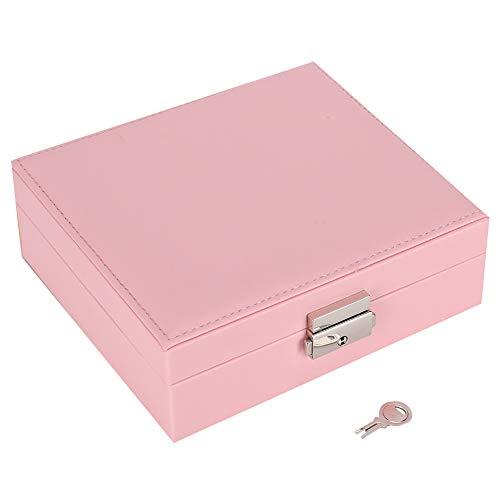 Caja de almacenamiento conveniente para joyería a prueba de herrumbre elegante portátil, caja de joyería para mujeres caseras(Pink)